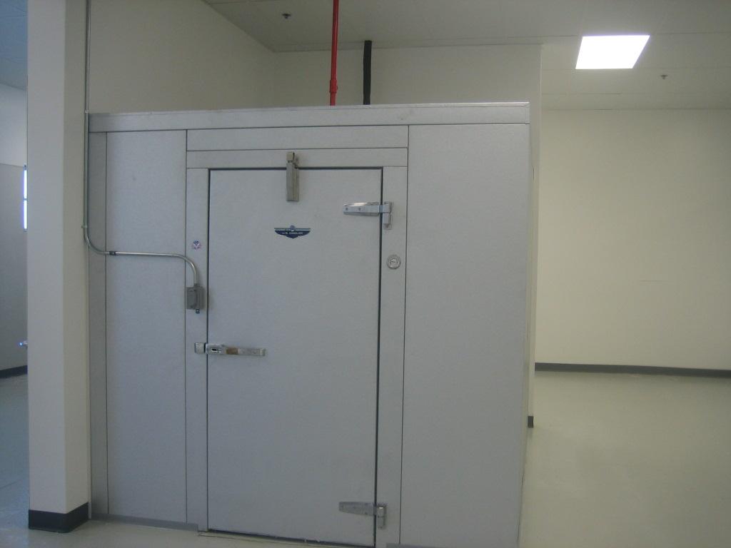 Modern industrial freezer with locked door